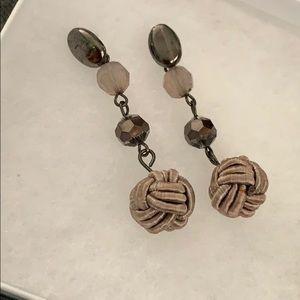 "New dangle earrings 2"" Satin ball, crystals"